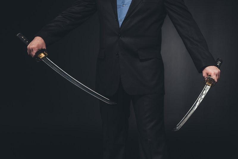 Sword in both hands